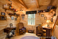 interior, horizontal, loft office and sitting area, Gilchrist residence, Monterey, Tennessee, Honest Abe Log Homes