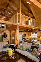 Interior, vertical, living room toward kitchen and loft, Gilchrist residence, Monterey, Tennessee, Honest Abe Log Homes