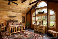 Interior, horizontal, master bedroom, Wilson residence, Crossville, Tennessee; Honest Abe Log Homes