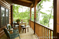 Exterior, horizontal, rear porch looking out to Greer's Ferry Lake, Alderson residence, Clinton, Arkansas, Honest Abe Log Homes