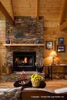 Interior, vertical, fireplace vignette, Gilchrist residence, Monterey, Tennessee, Honest Abe Log Homes