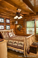 Interior, vertical, master bedroom, Alderson residence, Clinton, Arkansas, Honest Abe Log Homes
