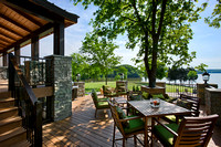 Exterior, horizontal, patio looking out to view of Old Hickory Lake, Foster residence, Gallatin, Tennessee; Honest Abe Log Homes