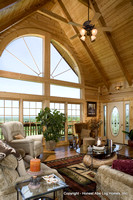 Interior, vertical, living room looking toward windows, Swift residence, Honest Abe Log Homes, Allgood, TN