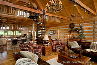 Interior, horizontal, overall living area looking toward kitchen and dining room, DeSocio residence, Henry, Tennessee, Honest Abe Log Homes