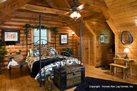 Interior, horizontal, loft bedroom, Alderson residence, Clinton, Arkansas, Honest Abe Log Homes