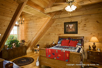 Interior, horizontal, upstairs guest bedroom, Swift residence, Honest Abe Log Homes, Allgood, TN