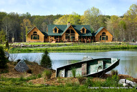 Exteror, horizontal, front scene setter with row boat and pond in foreground, Wilson residence, Crossville, Tennessee; Honest Abe Log Homes