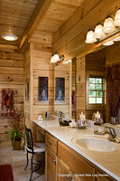 Interior, vertical, master bathroom, Swift residence, Honest Abe Log Homes, Allgood, TN