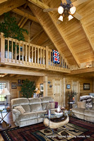 Interior, vertical, living room looking toward loft and entry, Swift residence, Honest Abe Log Homes, Allgood, TN