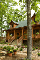 Exterior, vertical, front elevation, Alderson residence, Clinton, Arkansas, Honest Abe Log Homes