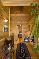 Interior, vertical, upstairs hallway looking into guest bedroom, Swift residence, Honest Abe Log Homes, Allgood, TN