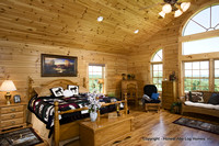 Interior, horizontal, master bedroom, Swift residence, Honest Abe Log Homes, Allgood, TN