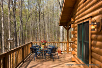 Exterior, horizontal, closer up of deck with table and chairs, Gilchrist residence, Monterey, Tennessee, Honest Abe Log Homes