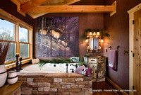 Interior, horizontal, guest bathroom toward tub and Adirondack style vanity, Wilson residence, Crossville, Tennessee; Honest Abe Log Homes