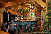 Interior, horizontal, kitchen, Wilson residence, Crossville, Tennessee; Honest Abe Log Homes