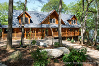 Exterior, horizontal, front elevation, Marshall residence, Grand Vista Bay, Rockwood, Tennessee, Honest Abe Log Homes