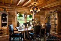 Interior, horizontal, dining room, Wilson residence, Crossville, Tennessee; Honest Abe Log Homes