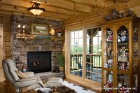 Interior, horizontal, fireplace sitting area, Swift residence, Honest Abe Log Homes, Allgood, TN
